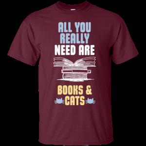 Books & Cat Lover T-Shirt-Round neck
