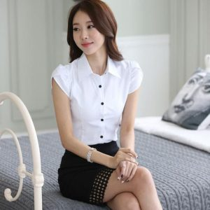 Buy top quality shirts In UK Spring Blouse Shirt Cardigans White Office Clothing Female Casual