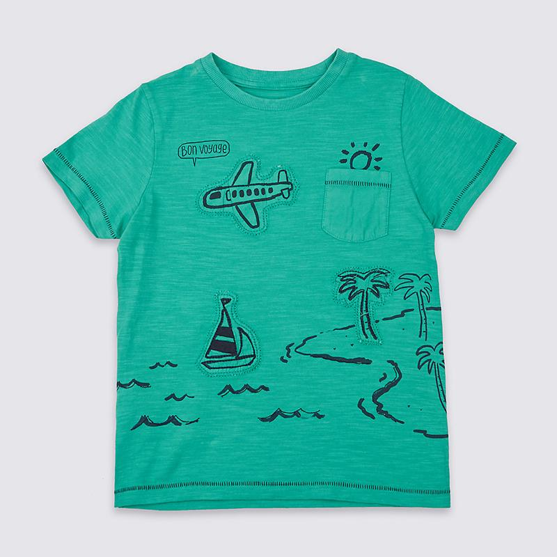 Buy top quality shirts In UK Green Cotton Round Neck T-Shirt for Baby Boy