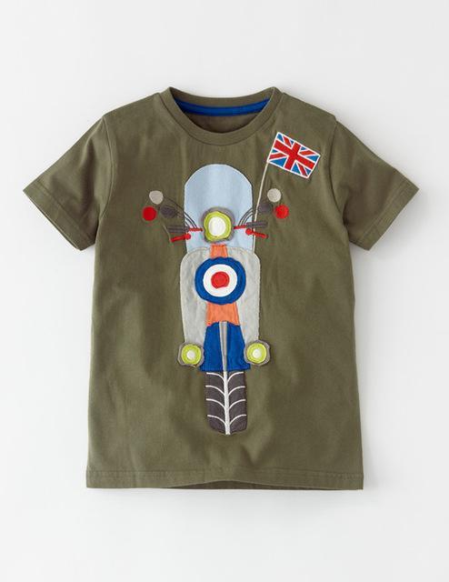 Bike Design Cotton Brown Short Sleeve T-shirt for Boys