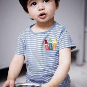 Buy top quality shirts In UK Striped Blue 100% Cotton Tees for Boy Kids