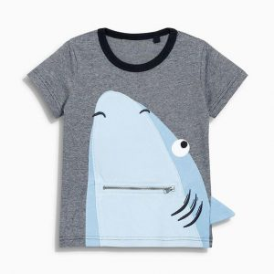Buy top quality shirts In UK Round Neck Grey Colored Shark Design Cotton T-Shirt for Cool Boy