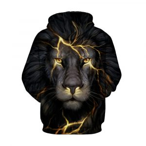 CoolShirts Gold Lion Printed Zipper Pullover Unisex Hoodie Sweatshirt