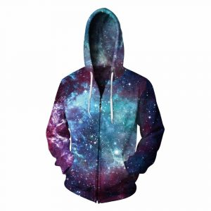 CoolShirts Colorful Galaxy Print Zip Pullover Unisex Hoodie Sweatshirt