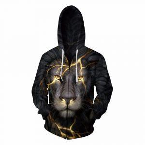 CoolShirts Gold Lion Printed Zipper Unisex Pullover Hoodie Sweatshirt
