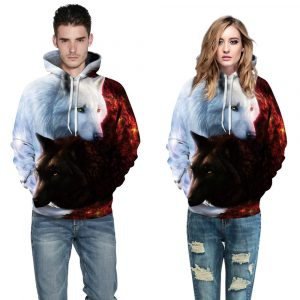 Black and White Wolf Design Pullover Unisex Hoodie/Sweatshirt