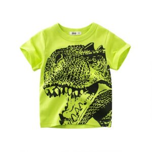 Dinosaur Green Round Neck Cotton T-Shirt for Boys Buy top quality shirts In UK