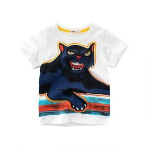 Buy top quality shirts In UK Cat Print Design White Blue 100% Cotton Short Sleeve Tees for Boy Kids