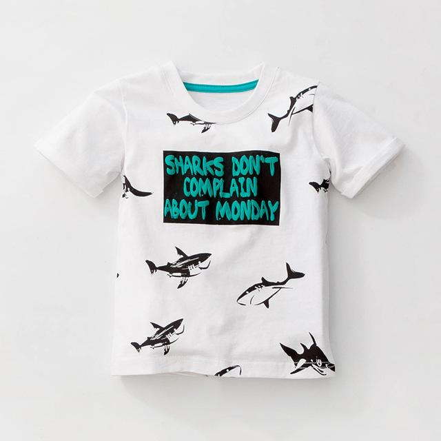 Buy top quality shirts In UK Sharks Print Design White and Green Short Sleeve Tees for Boy Kids