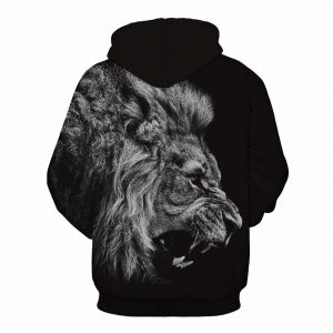 Black & White Roaring Lion Design Unisex Hoodie