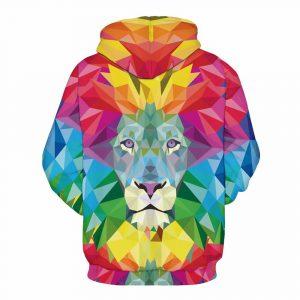 CoolShirts Colorful Lion Pullover Unisex Hoodie Sweatshirt