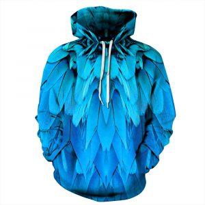 CoolShirts Blue Feather Unisex Hoodie Sweatshirt