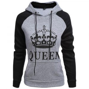CoolShirts Grey Black Queen Design Unisex Hoodie Sweatshirt