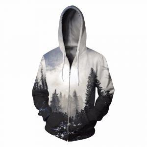 CoolShirts Forest Zip Pullover Unisex Hoodie Sweatshirt