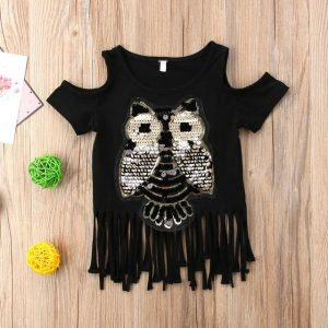 Buy top quality shirts In UK Casual Sequins Owl Printed Top for Toddler Infant Child Baby Girl