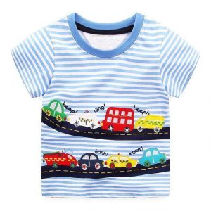 Buy top quality shirts In UK Car Toy Design Blue Striped Round Neck T Shirts for Boy