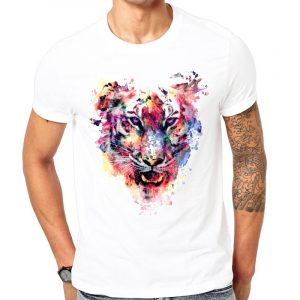 Buy top quality shirts In UK Roaring Tiger White Round Neck Cotton Unisex Tees