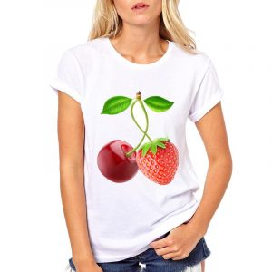 Buy top quality shirts In UK White Cherry and Strawberry Printed Round Neck Tees for Women