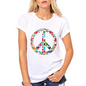 Buy top quality shirts In UK White Cool Shirts New world Flag T-Shirt for Women